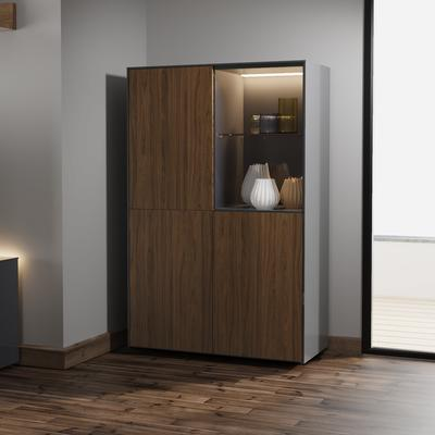 Contemporary High Gloss Grey and Walnut Effect Display cabinet with Hidden Wireless Phone Charging image 3