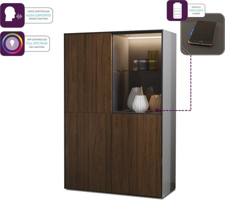Contemporary High Gloss Grey and Walnut Effect Display cabinet with Hidden Wireless Phone Charging image 4