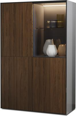 Contemporary High Gloss Grey and Walnut Effect Display cabinet with Hidden Wireless Phone Charging
