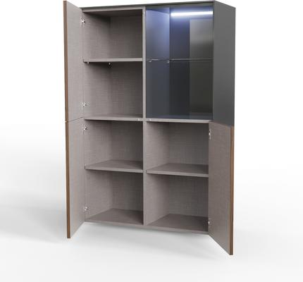 Contemporary High Gloss Grey and Walnut Effect Display cabinet with Hidden Wireless Phone Charging image 5