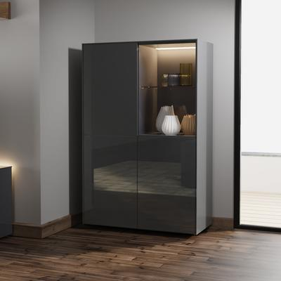 Contemporary High Gloss Grey Display cabinet with Hidden Wireless Phone Charging image 3