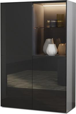 Contemporary High Gloss Grey Display cabinet with Hidden Wireless Phone Charging