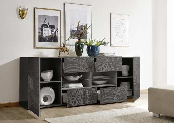 Messina Two Door/Four Drawer Sideboard - Grey Gloss Lacquer Finish with Decorative Stencil image 2