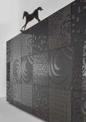 Messina Two Door/Four Drawer Sideboard - Grey Gloss Lacquer Finish with Decorative Stencil image 3