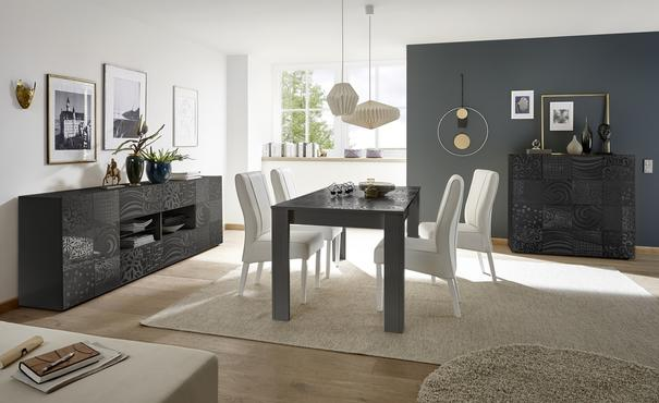 Messina Two Door/Four Drawer Sideboard - Grey Gloss Lacquer Finish with Decorative Stencil image 4
