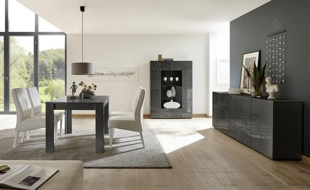 Messina Four Door Sideboard - Grey Gloss Lacquer Finish with Decorative Stencil image 3