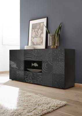 Messina Two Door/Two Drawer Sideboard - Grey Gloss Lacquer Finish with Decorative Stencil