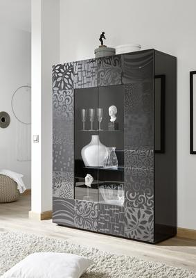 Messina Two Door Display Cabinet incl LED Spotlight - Grey Gloss Lacquer Finish with Decorative Stencil