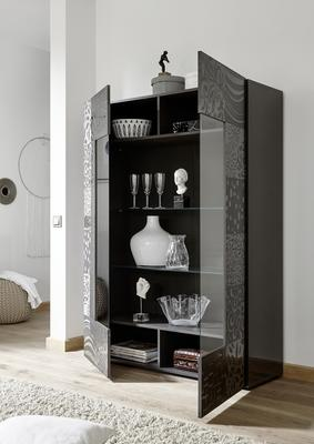 Messina Two Door Display Cabinet incl LED Spotlight - Grey Gloss Lacquer Finish with Decorative Stencil image 2
