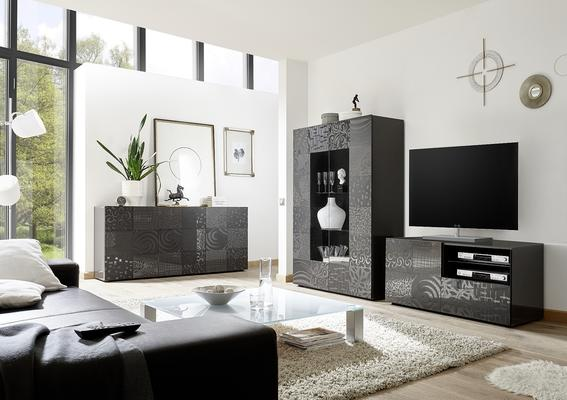 Messina Two Door Display Cabinet incl LED Spotlight - Grey Gloss Lacquer Finish with Decorative Stencil image 4