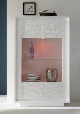 Luna Two Door Display Cabinet Inc. LED Spot Light - Matt White with Flower Stencil