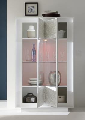 Luna Two Door Display Cabinet Inc. LED Spot Light - Matt White with Flower Stencil image 2