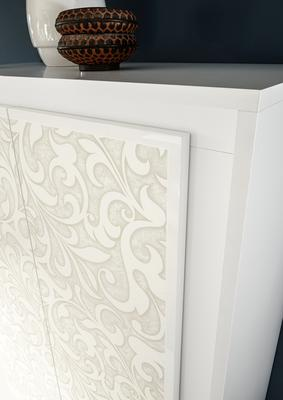 Luna Two Door Display Cabinet Inc. LED Spot Light - Matt White with Flower Stencil image 3