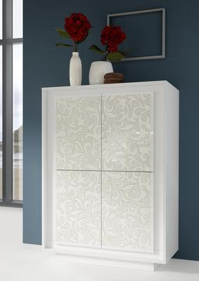 Luna Four Door High Sideboard - Matt White with Flower Stencil
