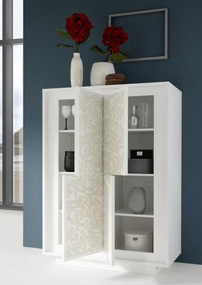 Luna Four Door High Sideboard - Matt White with Flower Stencil image 2