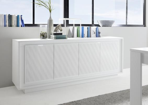 Luna Four Door Sideboard - Matt White with Striped Stencil
