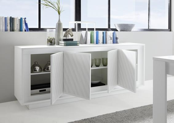 Luna Four Door Sideboard - Matt White with Striped Stencil image 2