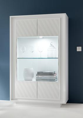 Luna Two Door Display Cabinet Inc. LED Spot Light - Matt White with Striped Stencil