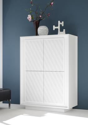 Luna Four Door High Sideboard - Matt White with Striped Stencil