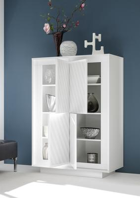 Luna Four Door High Sideboard - Matt White with Striped Stencil image 2