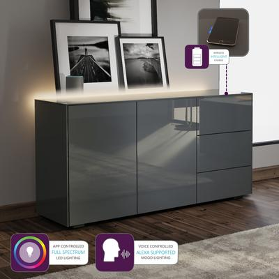 Contemporary High Gloss Grey Sideboard With Hidden Wireless Phone Charging And LED Mood Lighting image 2