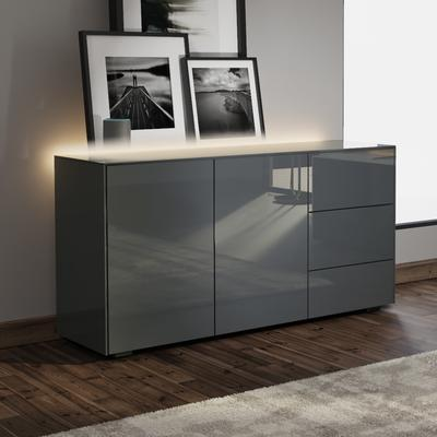Contemporary High Gloss Grey Sideboard With Hidden Wireless Phone Charging And LED Mood Lighting image 3