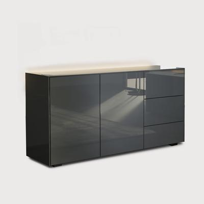 Contemporary High Gloss Grey Sideboard With Hidden Wireless Phone Charging And LED Mood Lighting