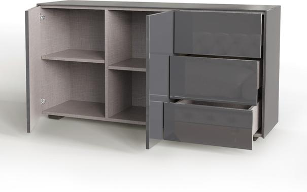 Contemporary High Gloss Grey Sideboard With Hidden Wireless Phone Charging And LED Mood Lighting image 4