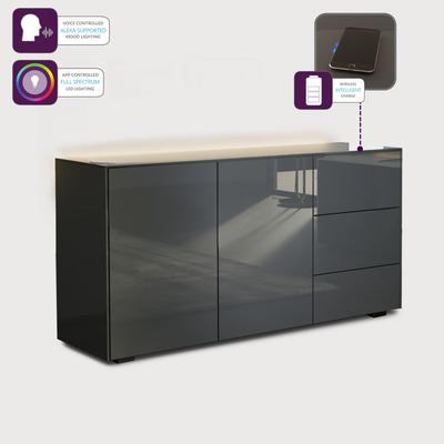 Contemporary High Gloss Grey Sideboard With Hidden Wireless Phone Charging And LED Mood Lighting image 5