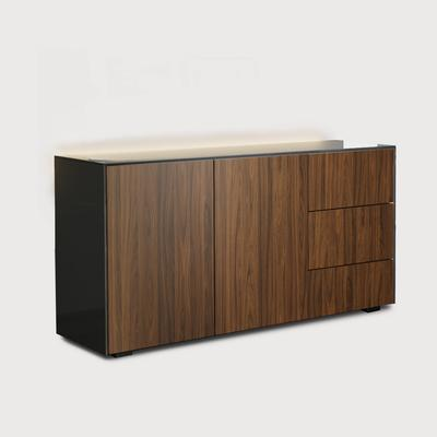 Contemporary High Gloss Grey And Walnut Effect Sideboard With Hidden Wireless Phone Charging And LED Mood Lighting