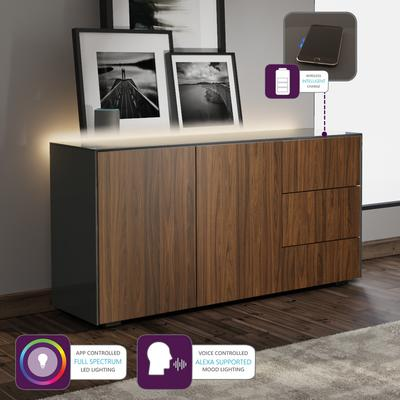 Contemporary High Gloss Grey And Walnut Effect Sideboard With Hidden Wireless Phone Charging And LED Mood Lighting image 2