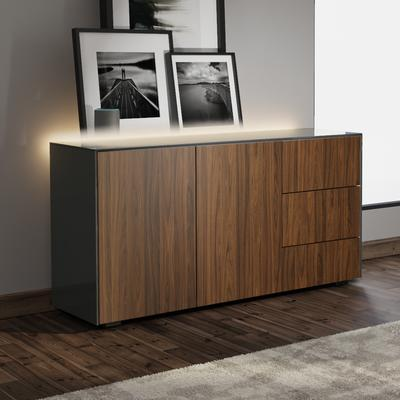 Contemporary High Gloss Grey And Walnut Effect Sideboard With Hidden Wireless Phone Charging And LED Mood Lighting image 3