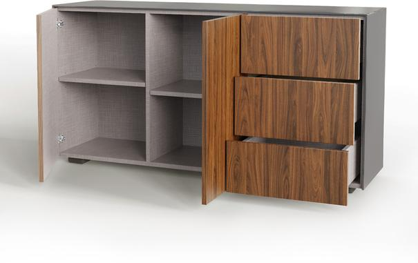 Contemporary High Gloss Grey And Walnut Effect Sideboard With Hidden Wireless Phone Charging And LED Mood Lighting image 5