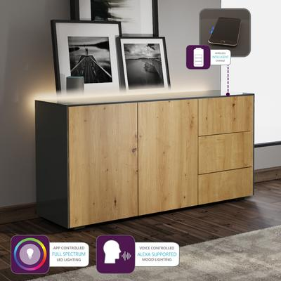 Contemporary High Gloss Grey And Oak Effect Sideboard With Hidden Wireless Phone Charging and LED Mood Lighting image 2