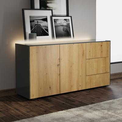 Contemporary High Gloss Grey And Oak Effect Sideboard With Hidden Wireless Phone Charging and LED Mood Lighting image 3