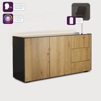 Contemporary High Gloss Grey And Oak Effect Sideboard With Hidden Wireless Phone Charging and LED Mood Lighting image 4