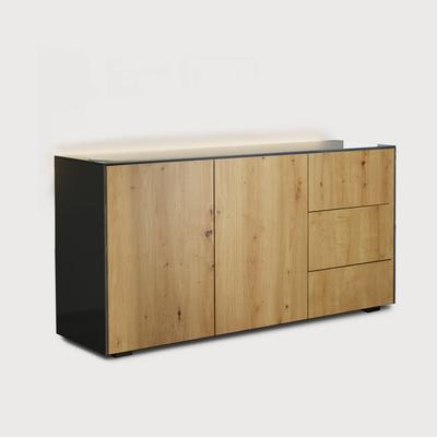 Contemporary High Gloss Grey And Oak Effect Sideboard With Hidden Wireless Phone Charging and LED Mood Lighting
