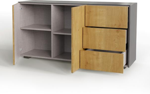 Contemporary High Gloss Grey And Oak Effect Sideboard With Hidden Wireless Phone Charging and LED Mood Lighting image 5