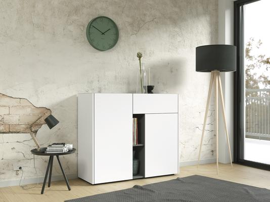 Viktor Small Sideboard - White and Graphite Finish
