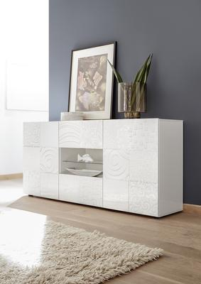 Messina Two Door/Two Drawer Sideboard - White Gloss Lacquer Finish with Decorative Stencil