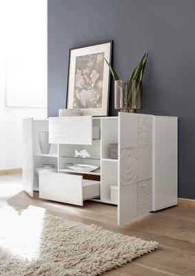 Messina Two Door/Two Drawer Sideboard - White Gloss Lacquer Finish with Decorative Stencil image 2