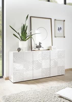 Messina Three Door Sideboard - White Gloss Lacquer Finish with Decorative Stencil