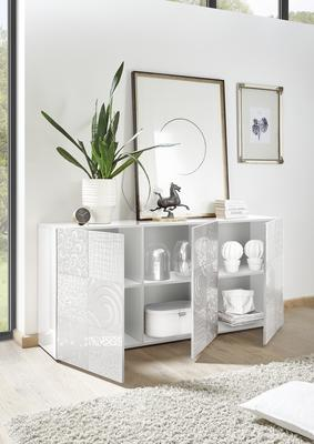 Messina Three Door Sideboard - White Gloss Lacquer Finish with Decorative Stencil image 2