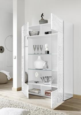 Messina Two Door Display Cabinet incl LED Spotlight - White Gloss Lacquer Finish with Decorative Stencil image 2