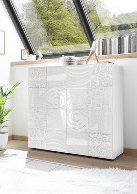 Messina Two Door High Sideboard - White Gloss Lacquer Finish with Decorative Stencil