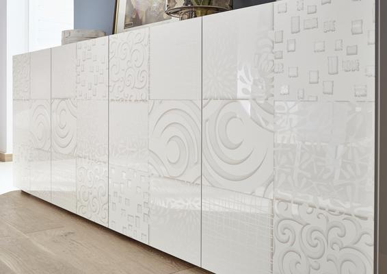 Messina Two Door High Sideboard - White Gloss Lacquer Finish with Decorative Stencil image 4