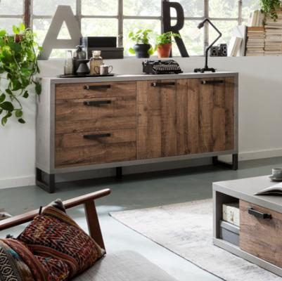 Manhattan Sideboard Three Drawers/Two Doors - Grey and New Aged Oak  Finish