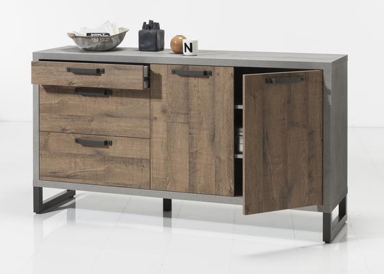 Manhattan Sideboard Three Drawers/Two Doors - Grey and New Aged Oak  Finish image 3