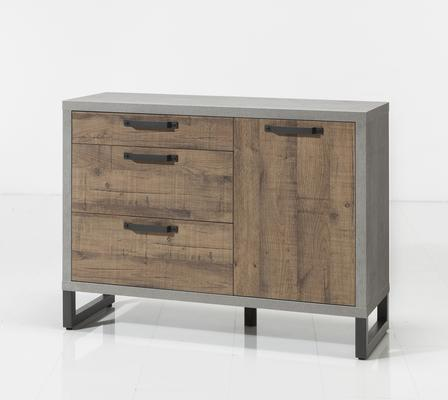 Manhattan Sideboard Three Drawers/One Door - Grey and New Aged Oak  Finish image 2