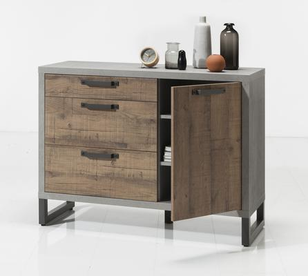 Manhattan Sideboard Three Drawers/One Door - Grey and New Aged Oak  Finish
